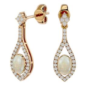 2 Carat Oval Shape Opal and Diamond Dangle Earrings In 14 Karat Yellow Gold