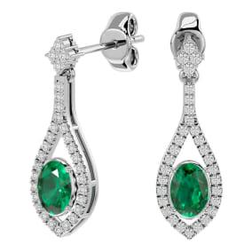 2 Carat Oval Shape Emerald and Diamond Dangle Earrings In 14 Karat White Gold