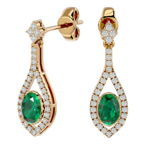 2 Carat Oval Shape Emerald and Diamond Dangle Earrings In 14 Karat Yellow Gold