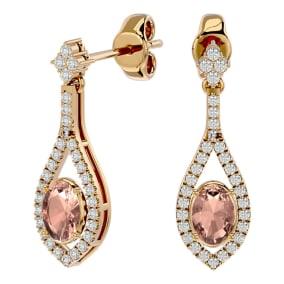2 Carat Oval Shape Morganite and Diamond Dangle Earrings In 14 Karat Yellow Gold