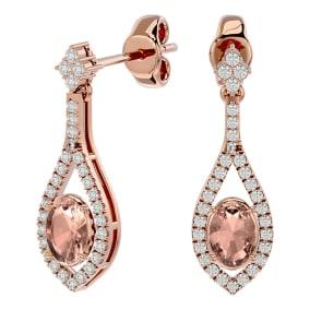 2 Carat Oval Shape Morganite and Diamond Dangle Earrings In 14 Karat Rose Gold