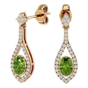 2 1/3 Carat Oval Shape Peridot and Diamond Dangle Earrings In 14 Karat Yellow Gold
