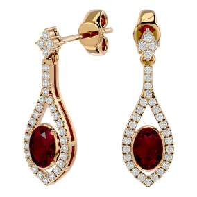 2 1/2 Carat Oval Shape Ruby and Diamond Dangle Earrings In 14 Karat Yellow Gold