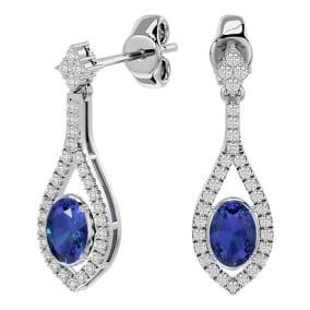 2 1/2 Carat Oval Shape Tanzanite and Diamond Dangle Earrings In 14 Karat White Gold