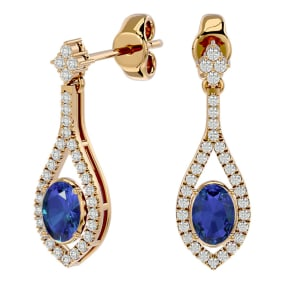 2 1/2 Carat Oval Shape Tanzanite and Diamond Dangle Earrings In 14 Karat Yellow Gold