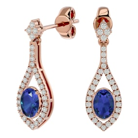 2 1/2 Carat Oval Shape Tanzanite and Diamond Dangle Earrings In 14 Karat Rose Gold