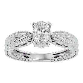 3/4 Carat Oval Shape Diamond Solitaire Engagement Ring with Tapered Etched Band In 14 Karat White Gold