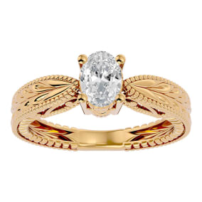 3/4 Carat Oval Shape Diamond Solitaire Engagement Ring with Tapered Etched Band In 14 Karat Yellow Gold
