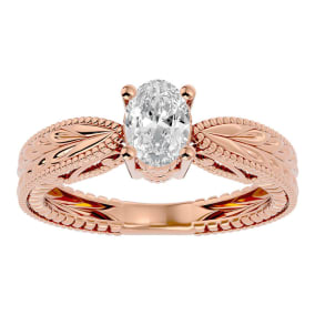 3/4 Carat Oval Shape Diamond Solitaire Engagement Ring with Tapered Etched Band In 14 Karat Rose Gold