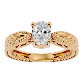 1 Carat Oval Shape Diamond Solitaire Engagement Ring with Tapered Etched Band In 14 Karat Yellow Gold