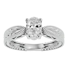 1 Carat Oval Shape Diamond Solitaire Engagement Ring with Tapered Etched Band In 14 Karat White Gold