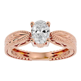 1 Carat Oval Shape Diamond Solitaire Engagement Ring with Tapered Etched Band In 14 Karat Rose Gold