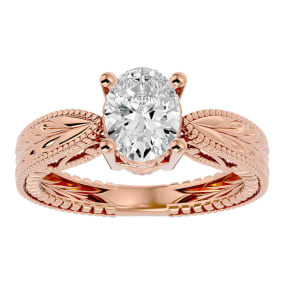 1 1/2 Carat Oval Shape Diamond Solitaire Engagement Ring with Tapered Etched Band In 14 Karat Rose Gold