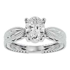 1 1/2 Carat Oval Shape Diamond Solitaire Engagement Ring with Tapered Etched Band In 14 Karat White Gold