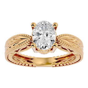 1 1/2 Carat Oval Shape Diamond Solitaire Engagement Ring with Tapered Etched Band In 14 Karat Yellow Gold