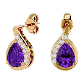 1 1/3 Carat Amethyst and Diamond Pear Shape Stud Earrings In 14 Karat Yellow Gold