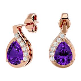 1 1/3 Carat Amethyst and Diamond Pear Shape Stud Earrings In 14 Karat Rose Gold