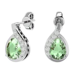 1 1/3 Carat Green Amethyst and Diamond Pear Shape Stud Earrings In 14 Karat White Gold