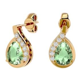 1 1/3 Carat Green Amethyst and Diamond Pear Shape Stud Earrings In 14 Karat Yellow Gold