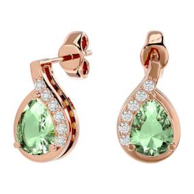 1 1/3 Carat Green Amethyst and Diamond Pear Shape Stud Earrings In 14 Karat Rose Gold