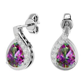 1 1/3 Carat Mystic Topaz and Diamond Pear Shape Stud Earrings In 14 Karat White Gold