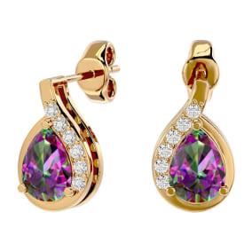 1 1/3 Carat Mystic Topaz and Diamond Pear Shape Stud Earrings In 14 Karat Yellow Gold