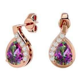 1 1/3 Carat Mystic Topaz and Diamond Pear Shape Stud Earrings In 14 Karat Rose Gold