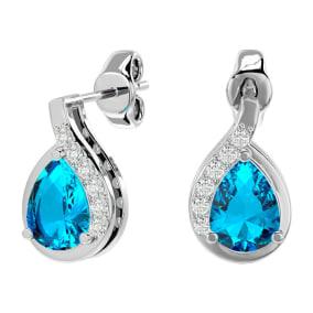 1 3/4 Carat Blue Topaz and Diamond Pear Shape Stud Earrings In 14 Karat White Gold