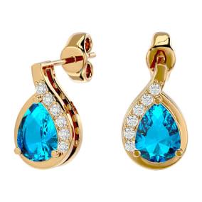 1 3/4 Carat Blue Topaz and Diamond Pear Shape Stud Earrings In 14 Karat Yellow Gold