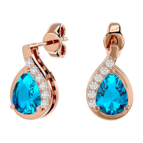 1 3/4 Carat Blue Topaz and Diamond Pear Shape Stud Earrings In 14 Karat Rose Gold