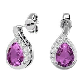 1 3/4 Carat Pink Topaz and Diamond Pear Shape Stud Earrings In 14 Karat White Gold