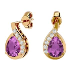 1 3/4 Carat Pink Topaz and Diamond Pear Shape Stud Earrings In 14 Karat Yellow Gold