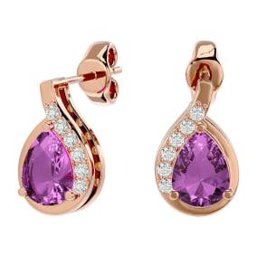 1 3/4 Carat Pink Topaz and Diamond Pear Shape Stud Earrings In 14 Karat Rose Gold