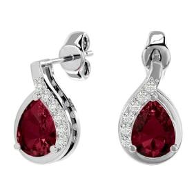 2 Carat Garnet and Diamond Pear Shape Stud Earrings In 14 Karat White Gold