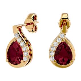 2 Carat Garnet and Diamond Pear Shape Stud Earrings In 14 Karat Yellow Gold