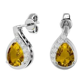 1 1/3 Carat Citrine and Diamond Pear Shape Stud Earrings In 14 Karat White Gold
