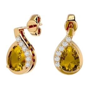 1 1/3 Carat Citrine and Diamond Pear Shape Stud Earrings In 14 Karat Yellow Gold