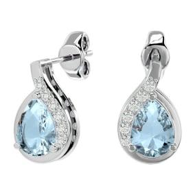 1.40 Carat Aquamarine and Diamond Pear Shape Stud Earrings In 14 Karat White Gold