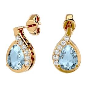 1.40 Carat Aquamarine and Diamond Pear Shape Stud Earrings In 14 Karat Yellow Gold