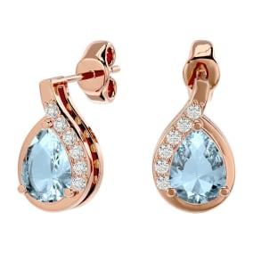 1.40 Carat Aquamarine and Diamond Pear Shape Stud Earrings In 14 Karat Rose Gold