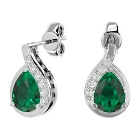 1.40 Carat Emerald and Diamond Pear Shape Stud Earrings In 14 Karat White Gold