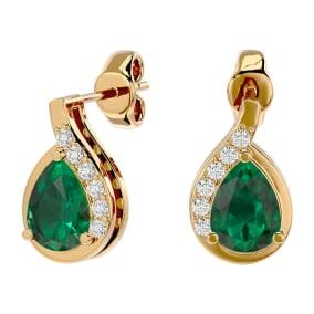 1.40 Carat Emerald and Diamond Pear Shape Stud Earrings In 14 Karat Yellow Gold