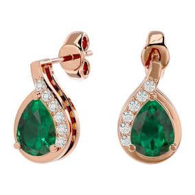 1.40 Carat Emerald and Diamond Pear Shape Stud Earrings In 14 Karat Rose Gold