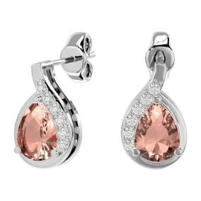 1.40 Carat Morganite and Diamond Pear Shape Stud Earrings In 14 Karat White Gold