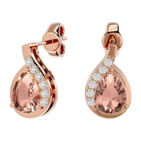 1.40 Carat Morganite and Diamond Pear Shape Stud Earrings In 14 Karat Rose Gold