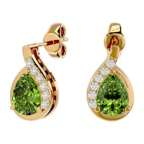 1 3/4 Carat Peridot and Diamond Pear Shape Stud Earrings In 14 Karat Yellow Gold