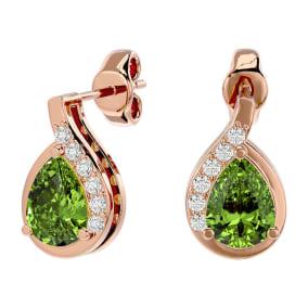 1 3/4 Carat Peridot and Diamond Pear Shape Stud Earrings In 14 Karat Rose Gold