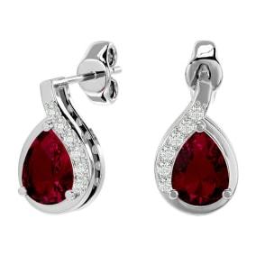 1 3/4 Carat Ruby and Diamond Pear Shape Stud Earrings In 14 Karat White Gold
