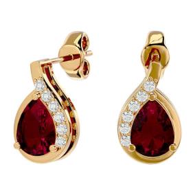 1 3/4 Carat Ruby and Diamond Pear Shape Stud Earrings In 14 Karat Yellow Gold