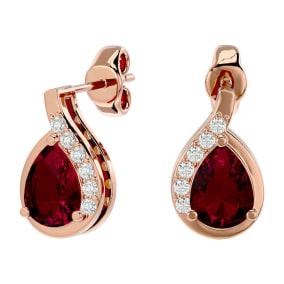 1 3/4 Carat Ruby and Diamond Pear Shape Stud Earrings In 14 Karat Rose Gold